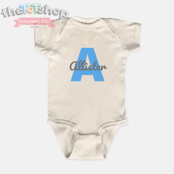 """Letter Name"" Boys Custom Name 100% Cotton Bodysuit"