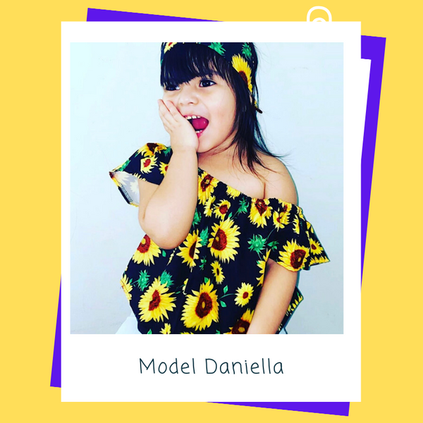 "Tot Model Daniella in the ""Sunflowers"" 3 Piece Denim Set"