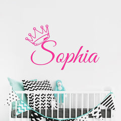 "Custom Name ""Crown Princess"" Girls Wall Decal"