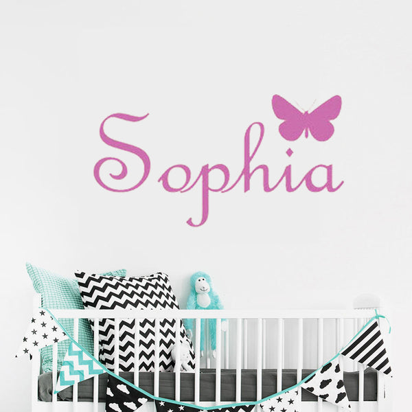 "Custom Name ""Simple Butterfly"" Girls Wall Decal"