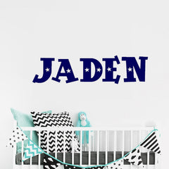"Custom Name ""White Stars"" Boys Wall Decal"