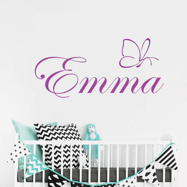 "Custom Name ""One Butterfly"" Girls Wall Decal"