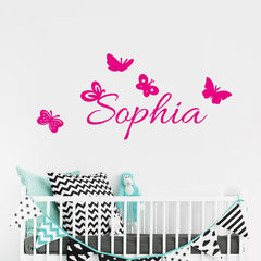 "Custom Name ""Flying Butterflies"" Girls Wall Decal"
