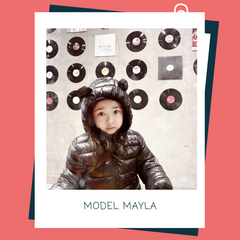 "Model Mayla is wearing the ""Bear"" Puffer Jacket in Black"