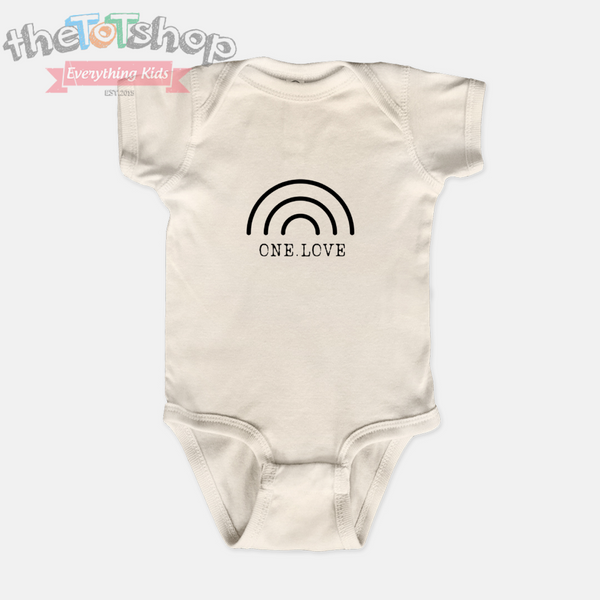 """One Love""  Custom Name 100% Cotton Bodysuit"