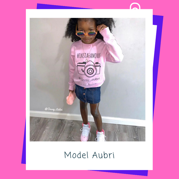 "Tot Model Aubrielle in the ""@Instafamous"" Pink Custom Sweatshirt"