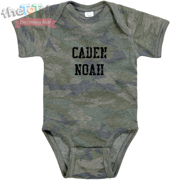"""Camo Boy"" Distressed VIntage Custom Name Onesie"