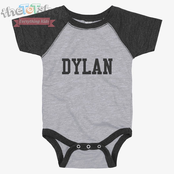 """The Dylan"" Vintage Raglan Custom Name Onesie"