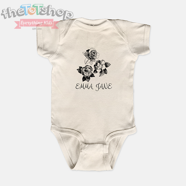 """ROSES"" Girls Custom Name 100% Cotton Bodysuit"