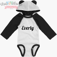"""The Everly"" Bear Hooded Custom Name Bodysuit"