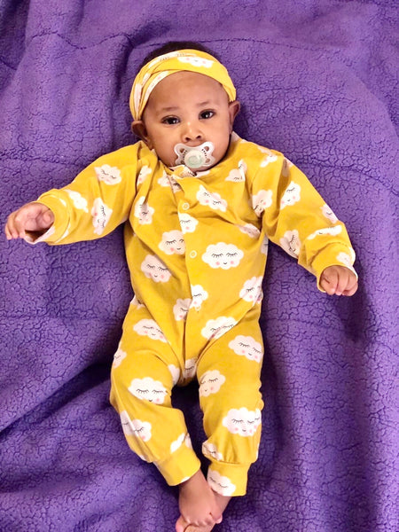 "2 Piece ""Pretty Cloud"" Onesie with Matching Headband"