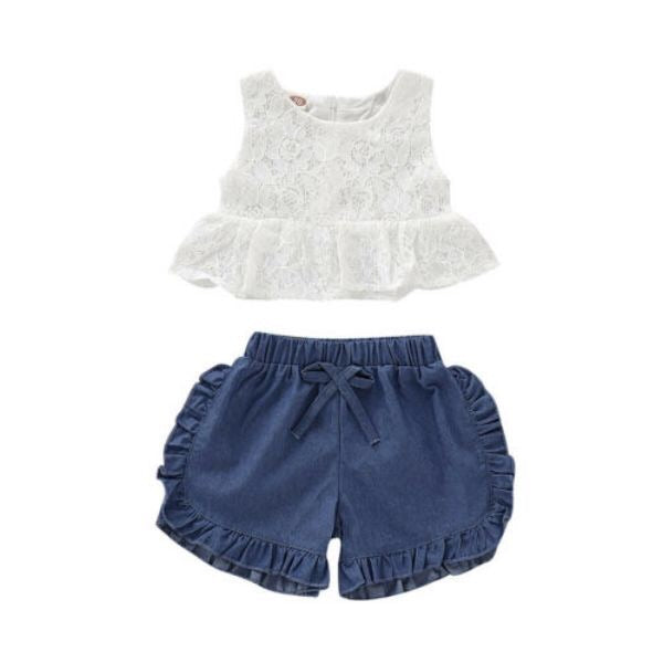"""Carissa"" Denim and Lace 2 Piece Shorts Set"