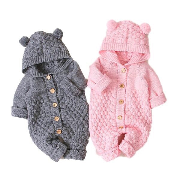 """Baby Bear"" Button Up Knit Hoodsie"
