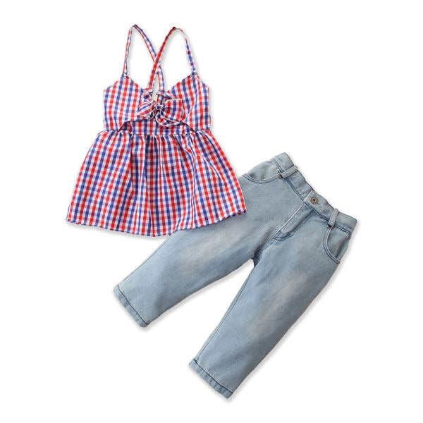 """Red White and Plaid"" Denim Jeans Set"