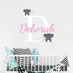 "Custom Name ""Baby Elephants"" Unisex Wall Decal"