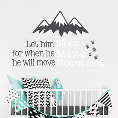 """He Will Move Mountains"" Boys Wall Decal"