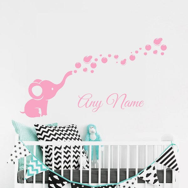 "Custom Name ""Elephant Bubbles"" Unisex Wall Decal"