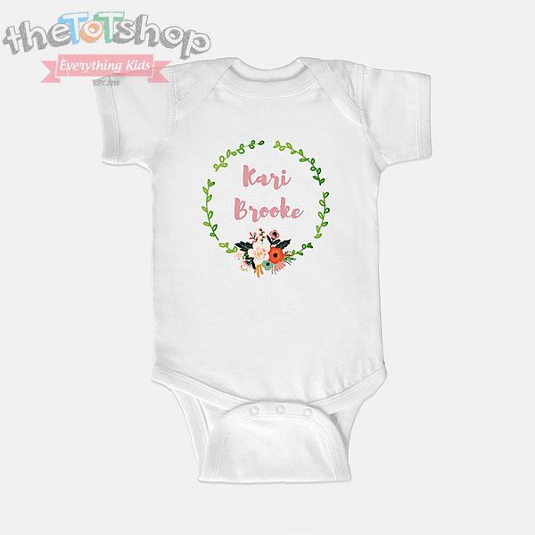 """Belle Wreath"" Girls Custom Name 100% Cotton Bodysuit"