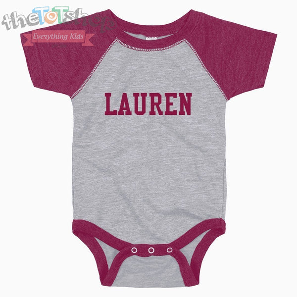 """The Lauren"" Vintage Raglan Custom Name Onesie"