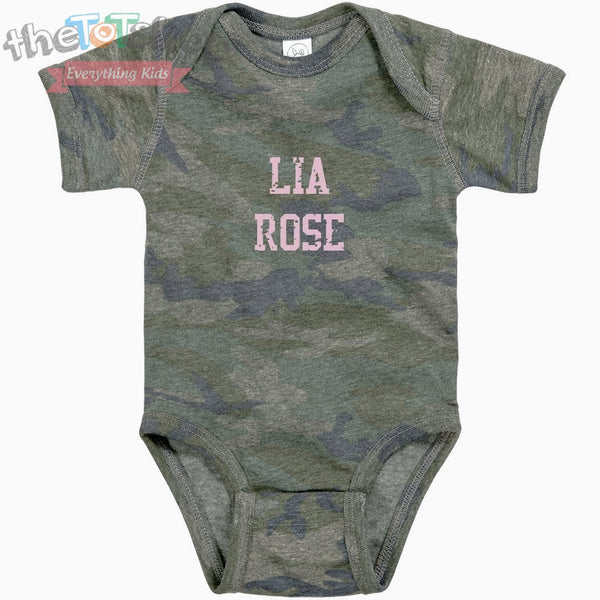 """Camo Girl"" Distressed Vintage Custom Name Onesie"