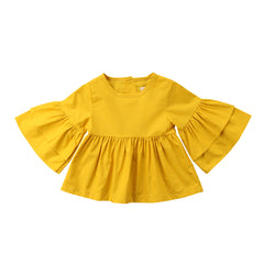 Infant Yellow Butterfly Sleeve Blouse