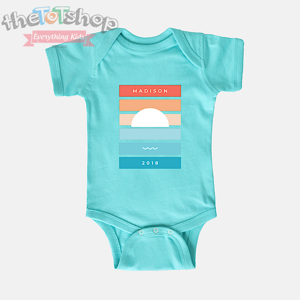 """Pacifica"" Girls Custom Name 100% Cotton Bodysuit"