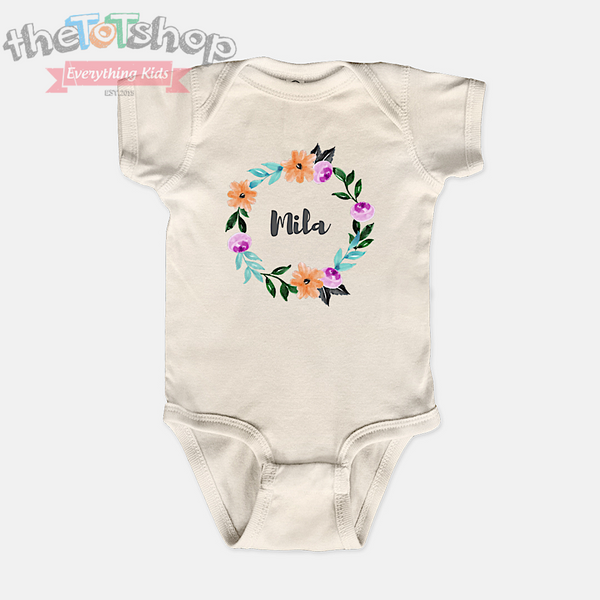 """Watercolors"" Wreath Girls Custom Name 100% Cotton Bodysuit"