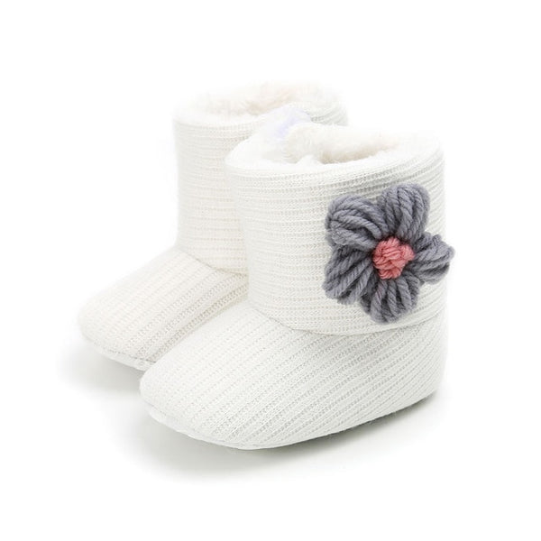 """Flowers"" Knit Baby Booties"