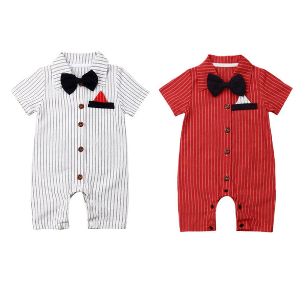 """Bows and Stripes"" Formal Romper/Onesie"