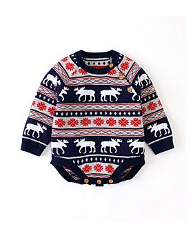 """Moose Caboose"" Knit Christmas Bodysuit"