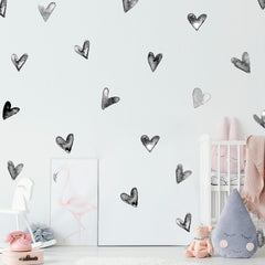 """Hearts"" Watercolor Painted Wall Decal"