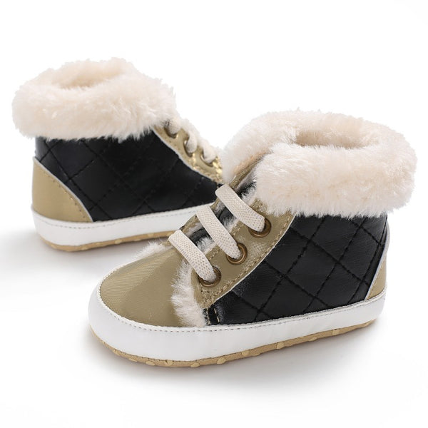 """Superstar"" Baby Hightop Plush Booties"