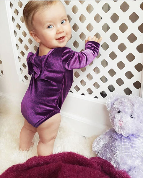 """Velvet Baby"" Bowback Solid Winter Bodysuits"