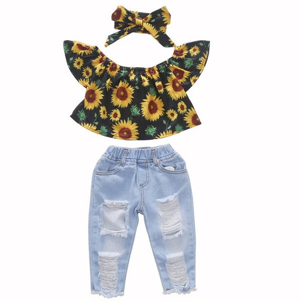 """Sunflowers"" 3 Piece Denim Set"