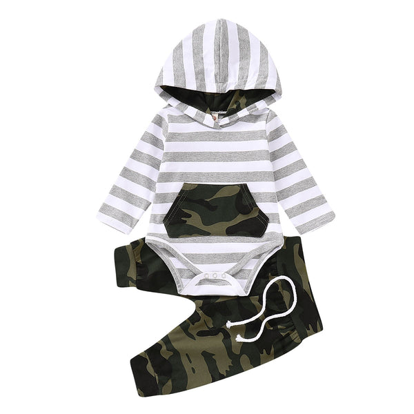 """Stripes and Camo"" Baby Hoodie Set"