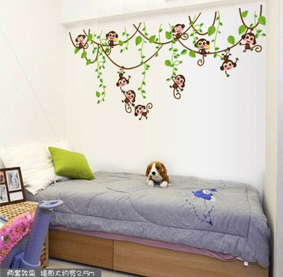 """Hanging Mini Monkeys"" Wall Decal"
