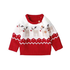 """Deer"" Knit Christmas Baby Sweater"