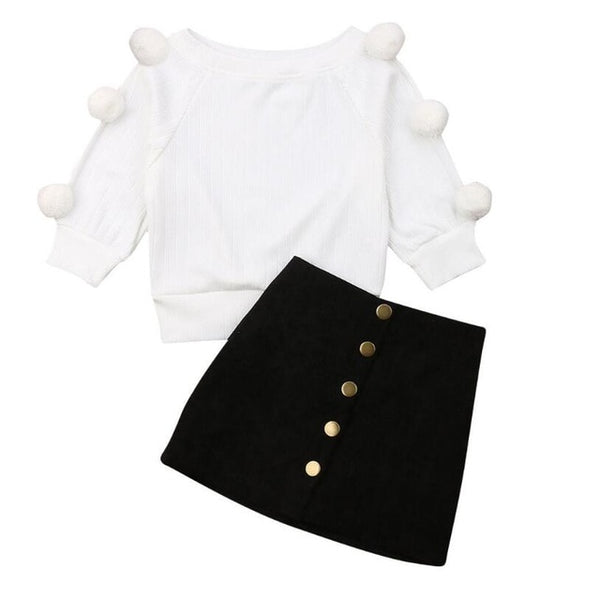 """Dots and Poms"" Skirt Set"