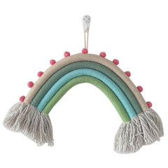 """Rainbow and Poms""  Weaved Rope Wall Hanging"