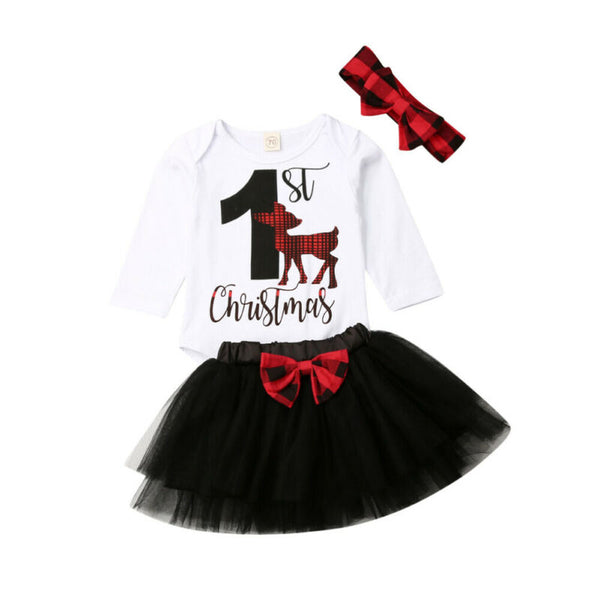 1st Christmas Black Tutu Set