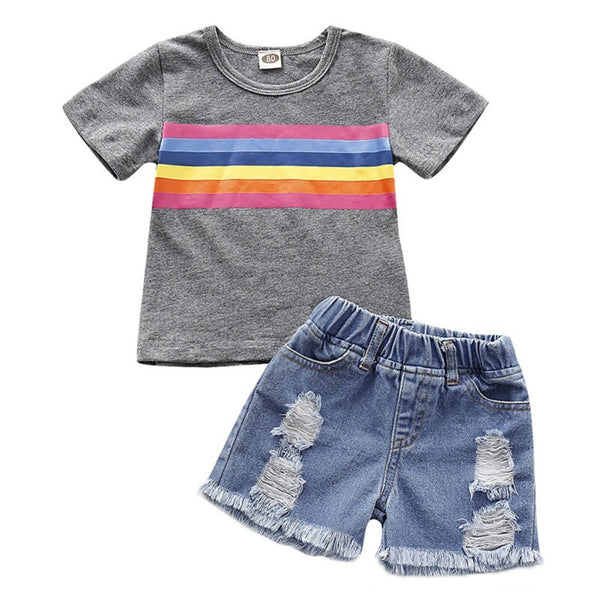 """Rainbow Denim"" 2 Piece Set"