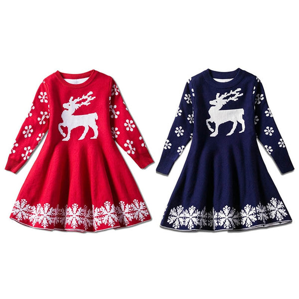 """Oh Dear"" Toddler Knit Christmas Dress"