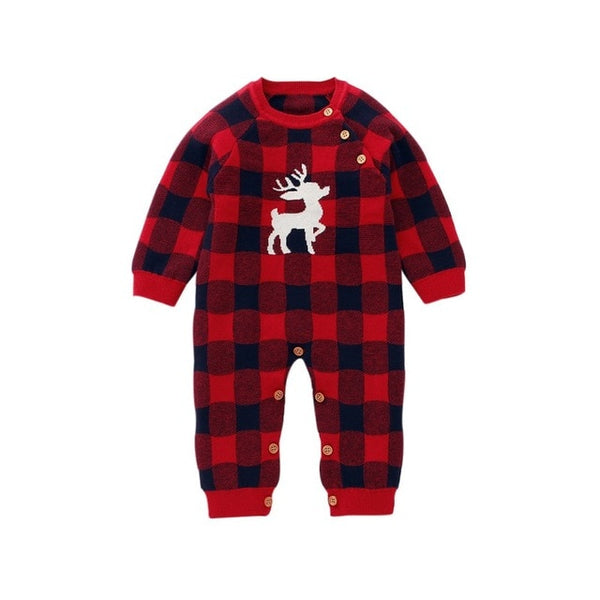 """It's Christmas"" Plaid Knit Boys Romper"