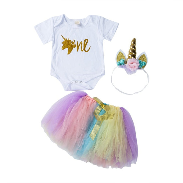 """Unicorn"" First Birthday Rainbow Tutu Set"