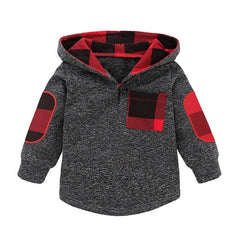"""Grey and Red""  Warm Winter Hoodie"