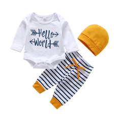 """Hello World"" Stripes and Yellow Baby Set"