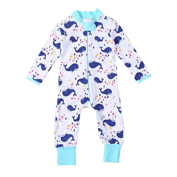 """Whales"" Cotton Zip Playsuit"