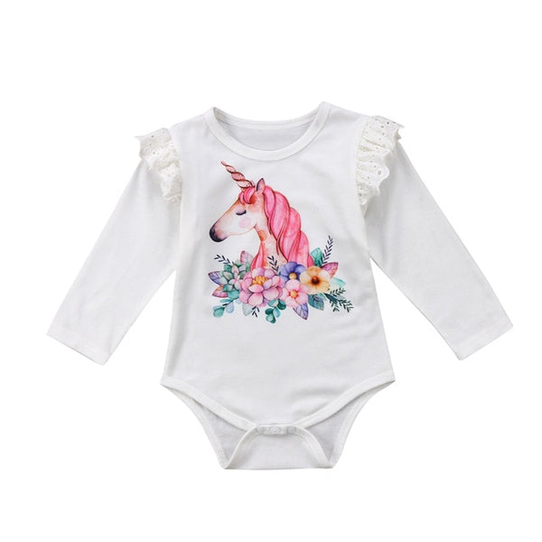 """Unicorns"" Ruffle-Sleeve Bodysuit"