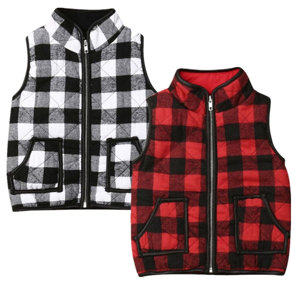 Plaid Zip-Up Vest