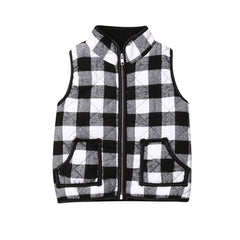 Model Keo is wearing the Plaid Zip-Up Vest